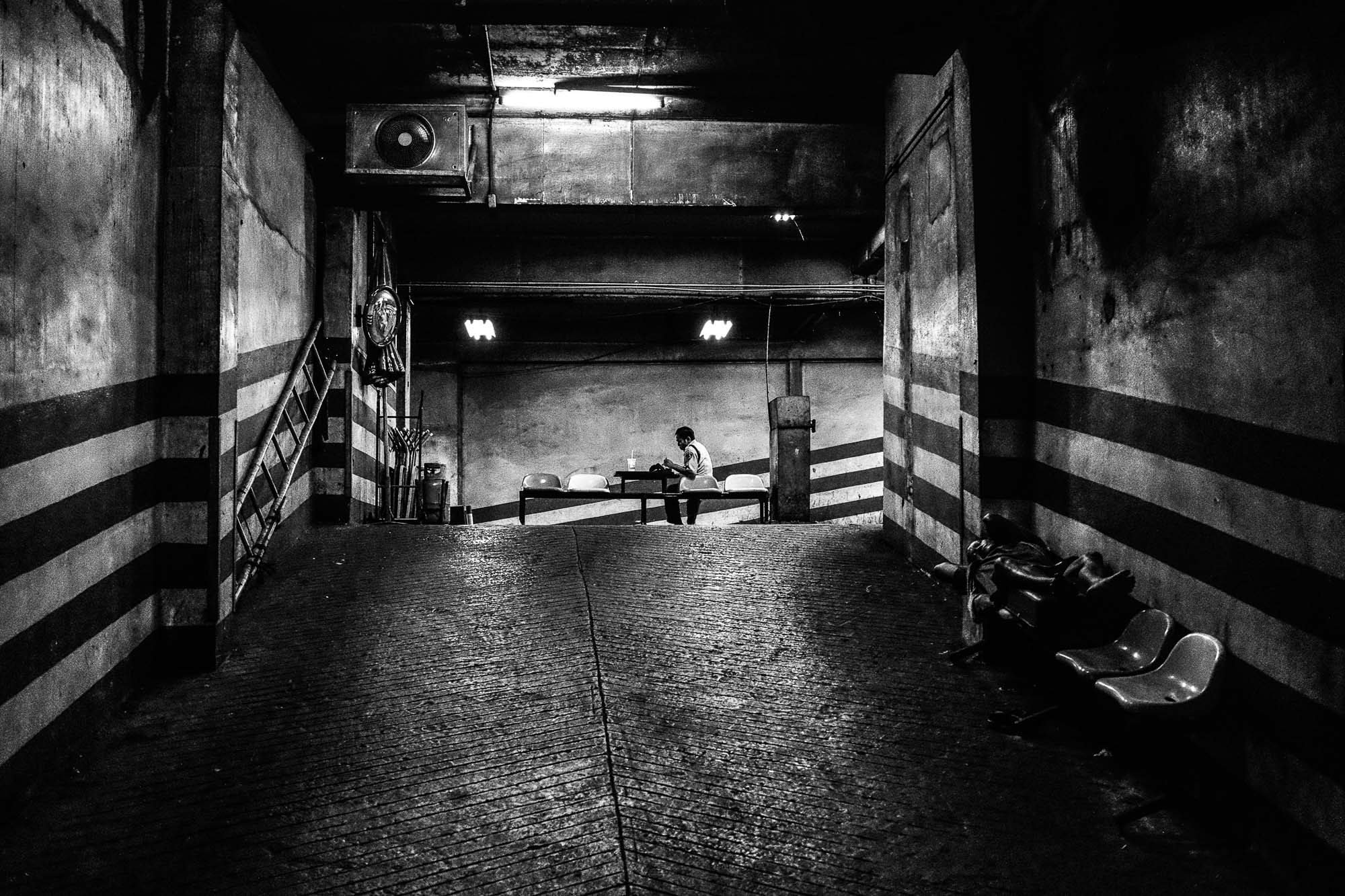 Black and white garage Bangkok Thailand BKK street photography