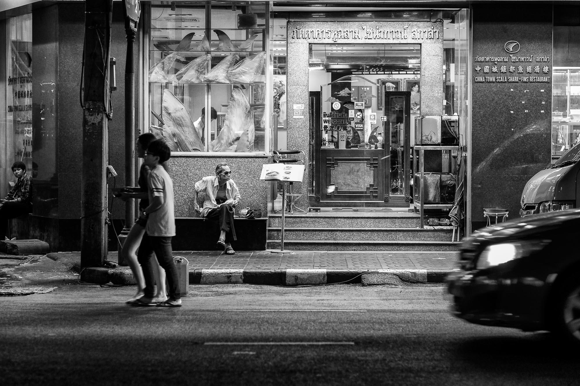 Black and white Bangkok Thailand BKK street photography restaurant