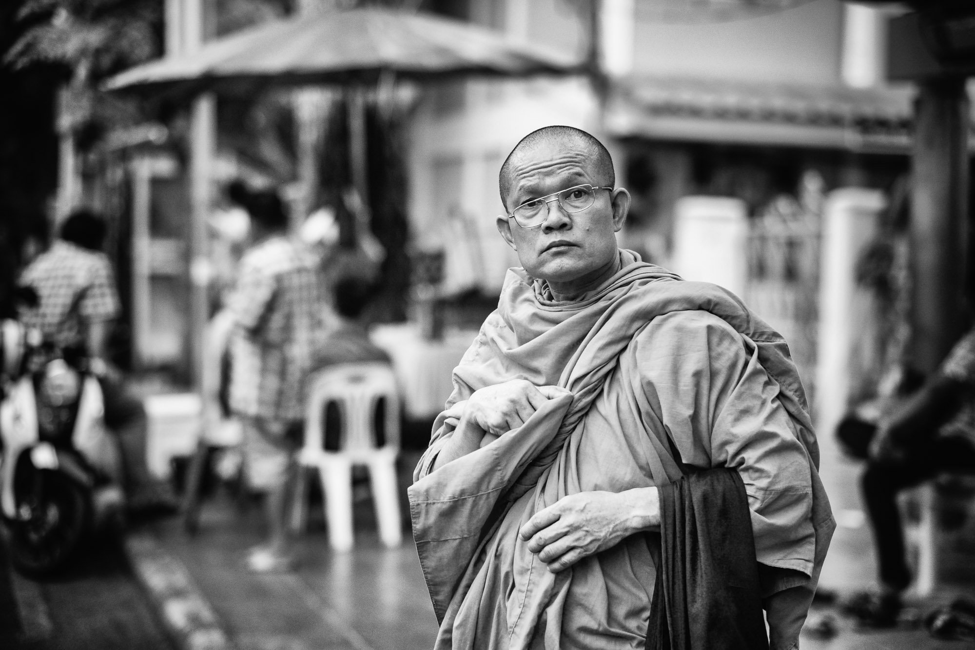 Black and white Bangkok Thailand BKK street photography monk boudhist