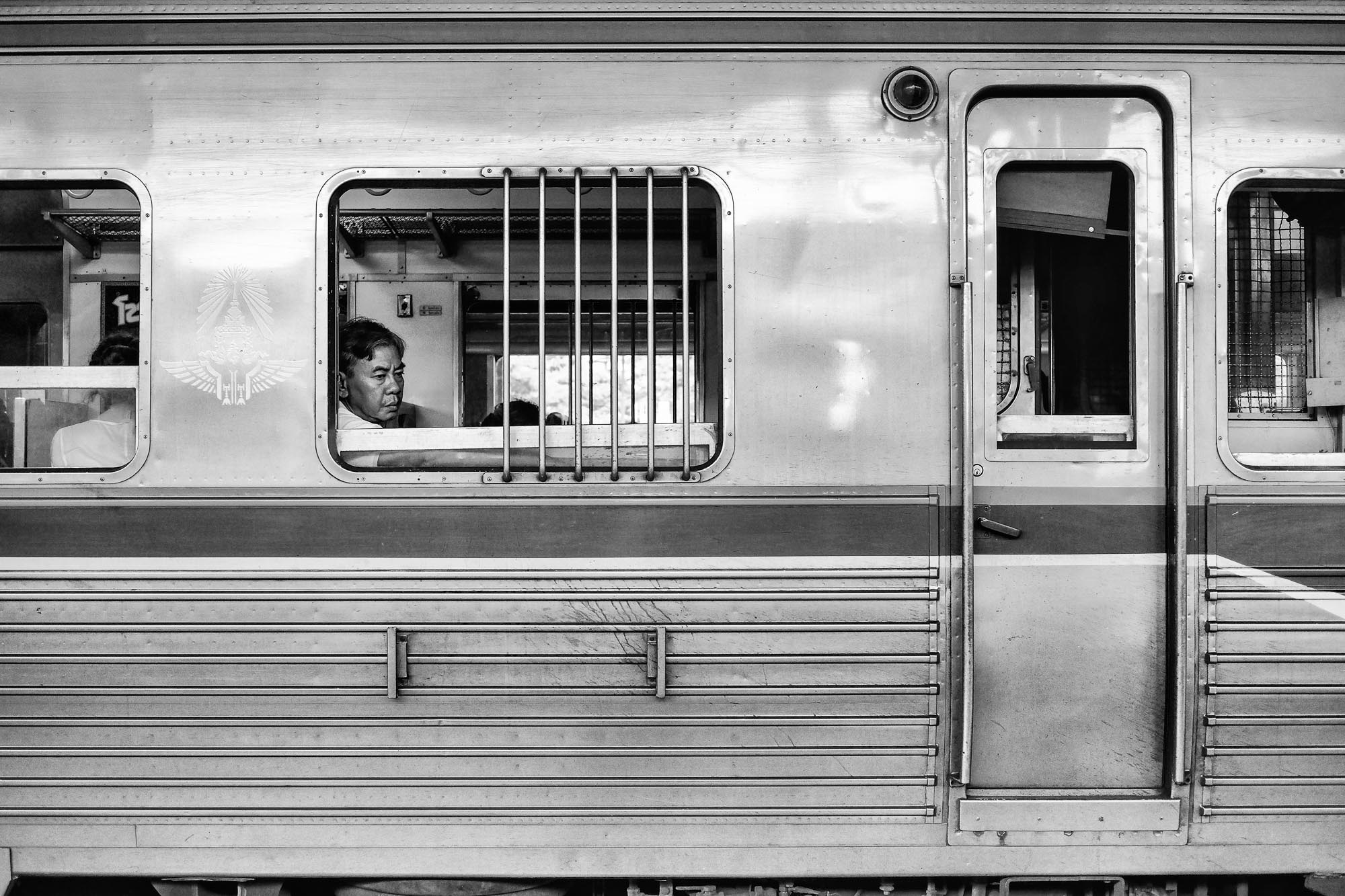 Black and white Bangkok Thailand BKK street photography train station people