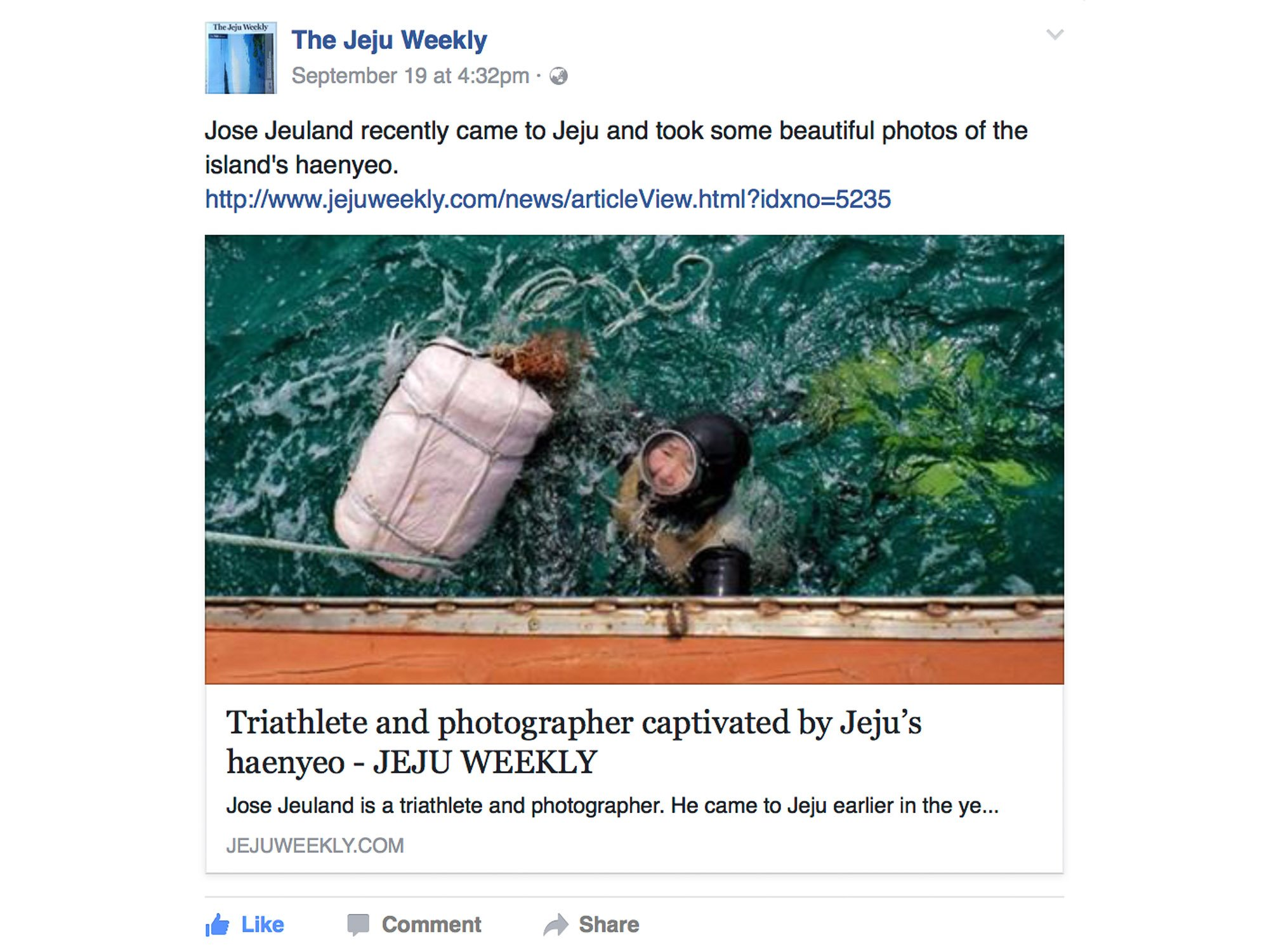 Jose Jeuland JeJu Weekly Haenyeo Article Photographer Triathlete newspaper facebook