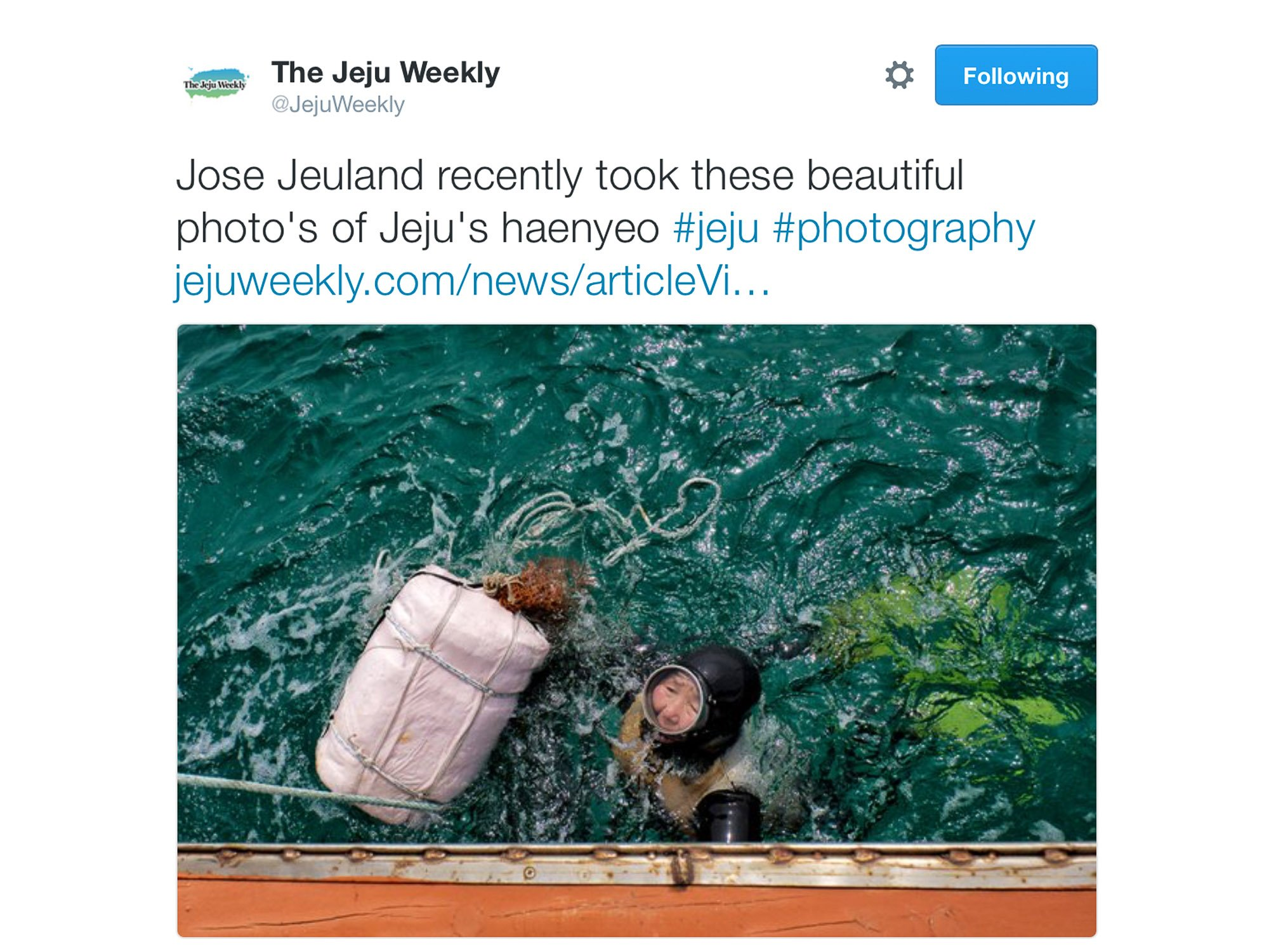 Jose Jeuland JeJu Weekly Haenyeo Article Photographer Triathlete newspaper twitter