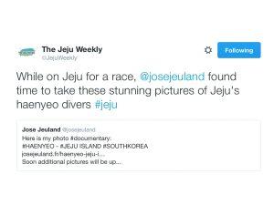 Jose Jeuland The Jeju Weekly Twitter haenyeo photographer