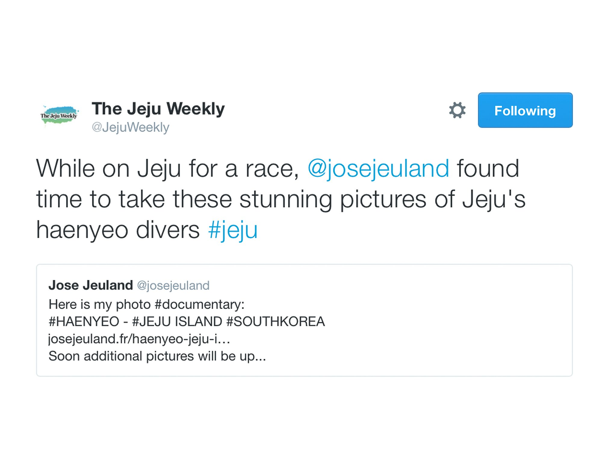Jose Jeuland The Jeju Weekly Twitter haenyeo photographer