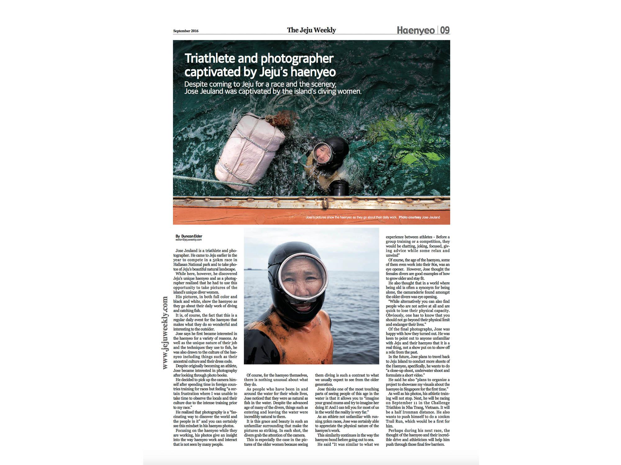 Jose Jeuland Triathlete Photographer The Jeju Weekly newspaper Haenyeo article