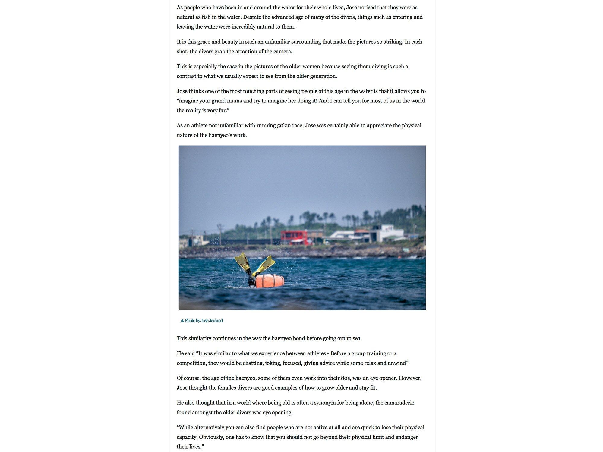 Jose Jeuland JeJu Weekly Haenyeo Article Photographer Triathlete newspaper