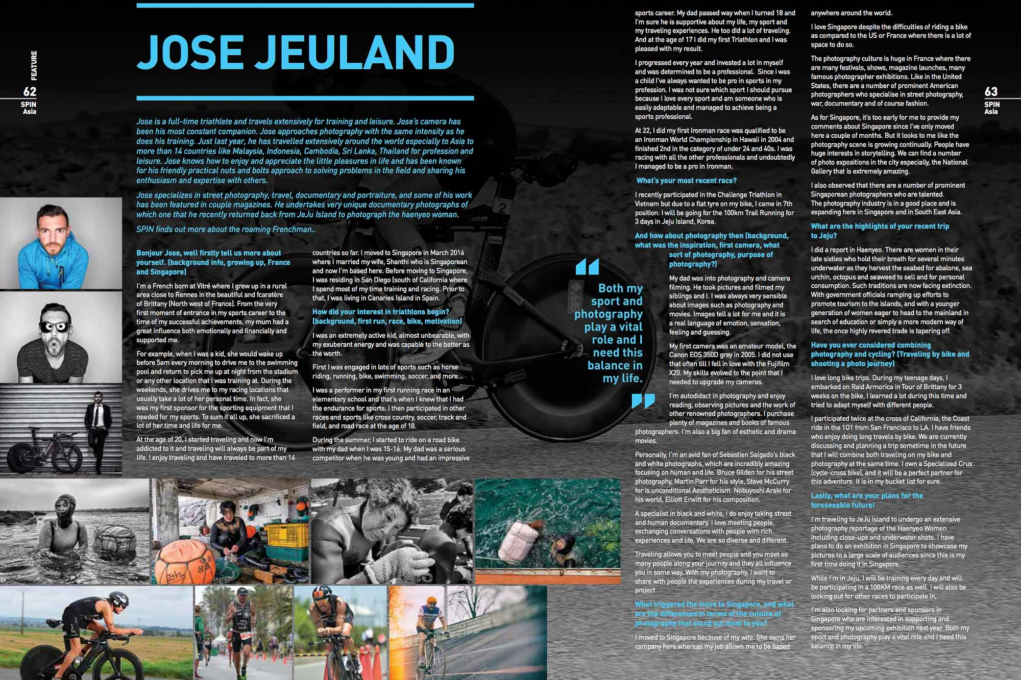 Spin Asia Magazine Jose Jeuland Triathlete Photographer