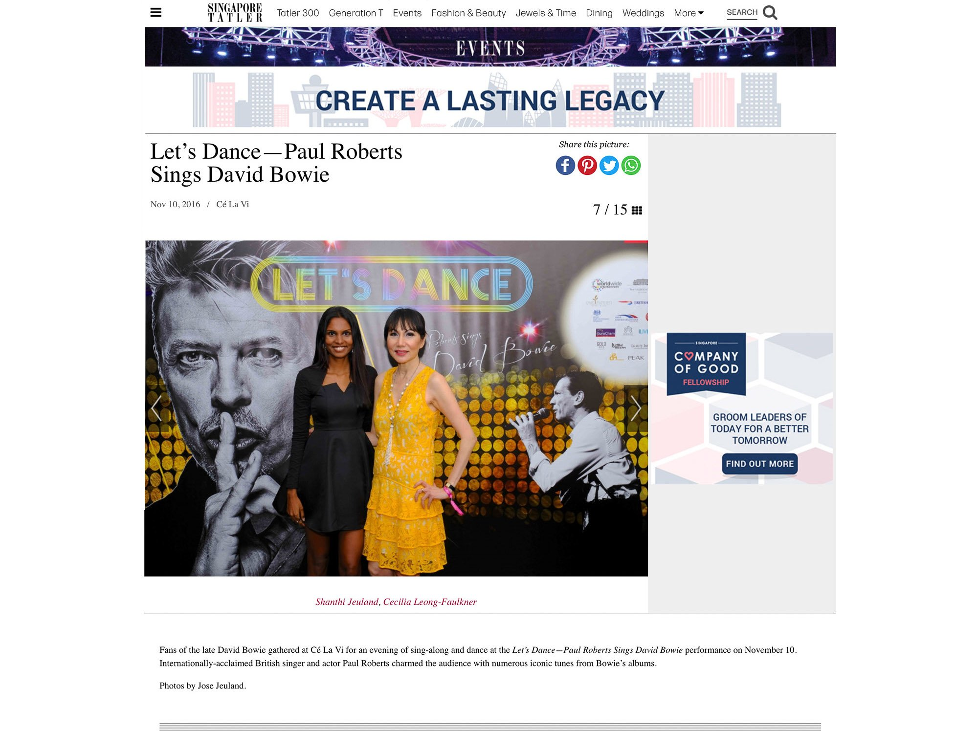 Tatler singapore British theatre play house singapore jose shanthi jeuland concert david bowie