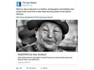 The Jeju Weekly Facebook jose jeuland haenyeo photographer