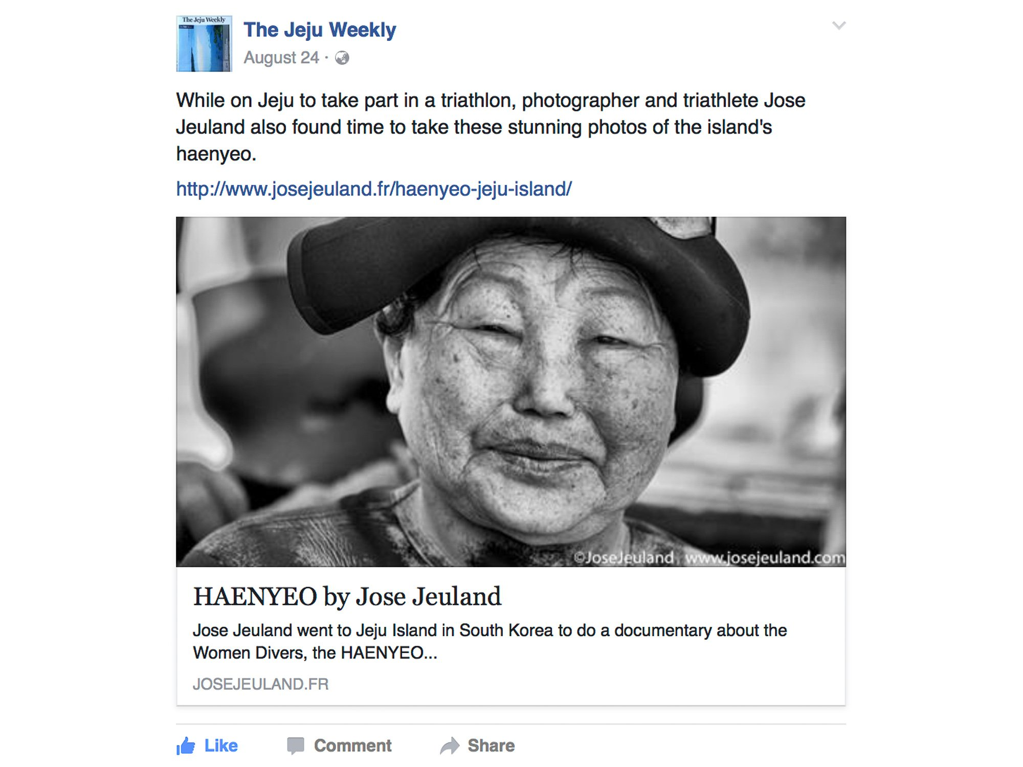 The Jeju Weekly Facebook jose jeuland haenyeo photographer