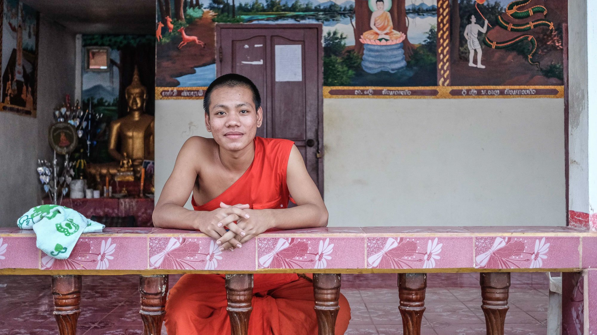 monk resting VIENTIANE Laos asia street photography photographer