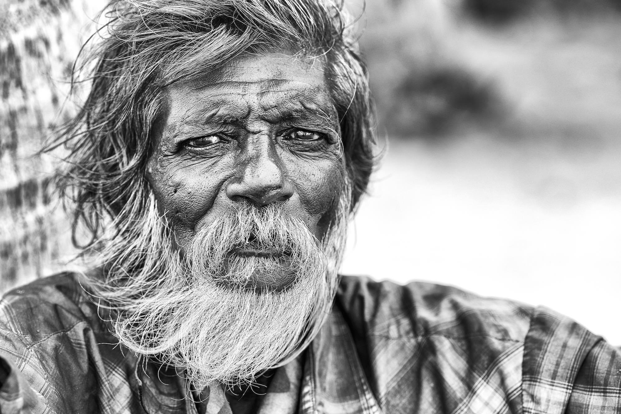 Sri Lanka Negombo beach old black and white 90mm lens man portrait Fujifilm xe3