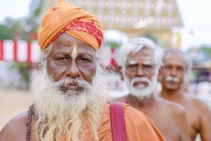 Hindu Temple Nallur Kandaswamy Festival Jaffana sri lanka travel photography fujifilm XE3 orange men