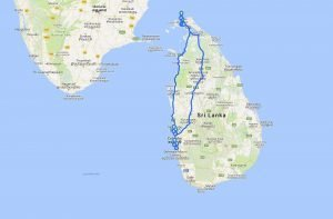Trip Sri Lanka 2017 - Bus and Tuk Tuk map travel