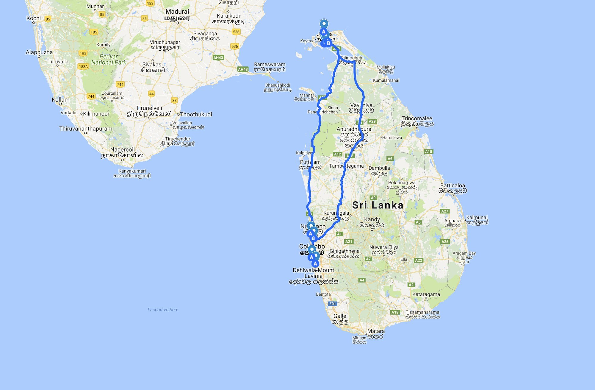 Trip Sri Lanka 2017 - Bus and Tuk Tuk map travel
