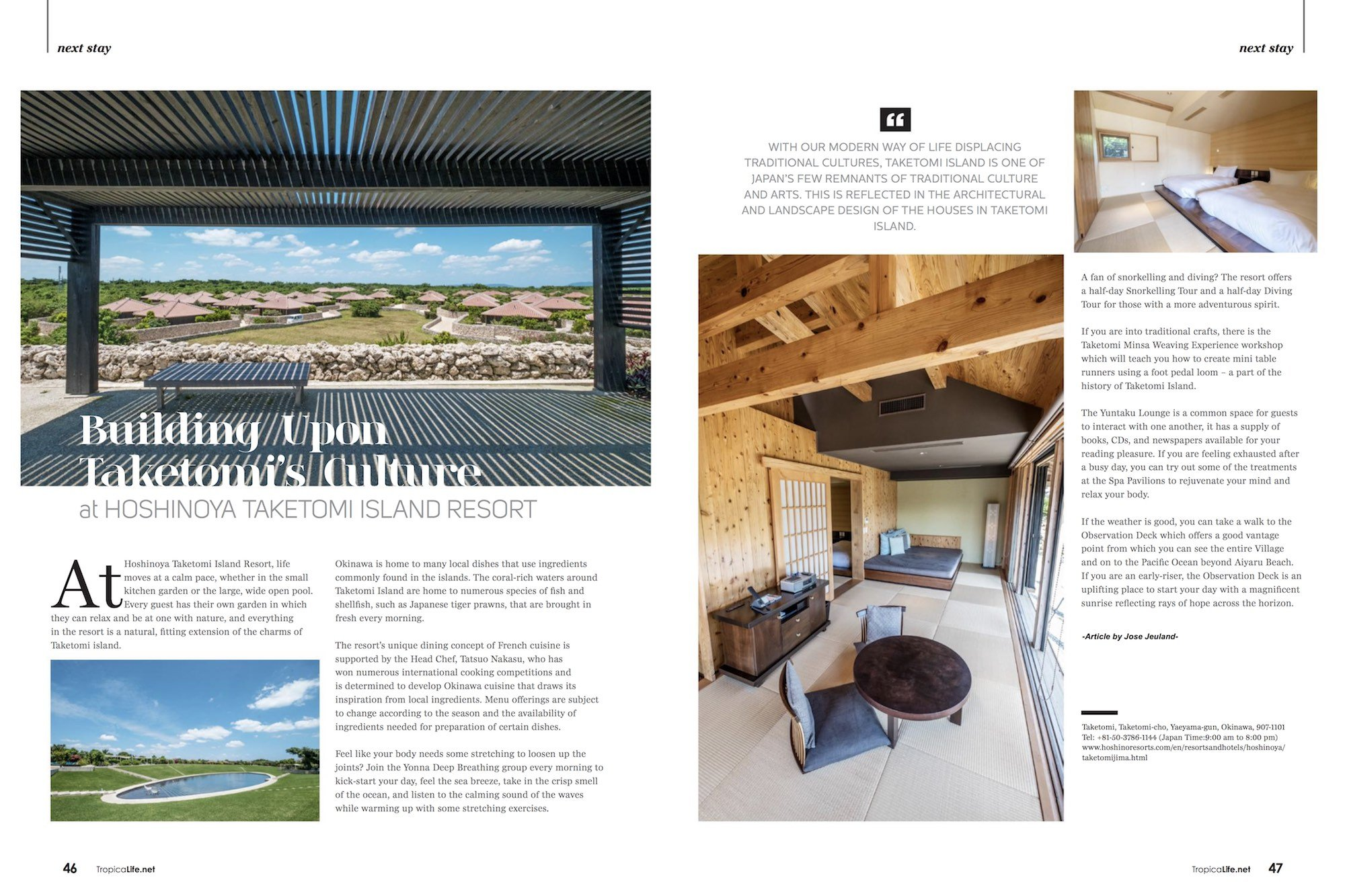 Tropical Life Magazine Travel Journey Okinawa Japan Jose Jeuland HOSHINOYA TAKETOMI ISLAND RESORT photographer Singapore