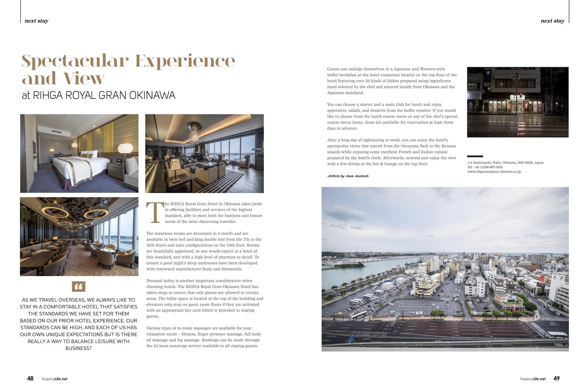 Tropical Life Magazine Travel Journey Okinawa Japan Jose Jeuland Hotel RIHGA ROYAL GRAN OKINAWA photographer Singapore