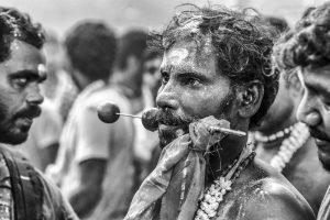 piercing tongue brochette black and white Little India Thaipusam Festival hindu Singapore photography jose jeuland documentary event
