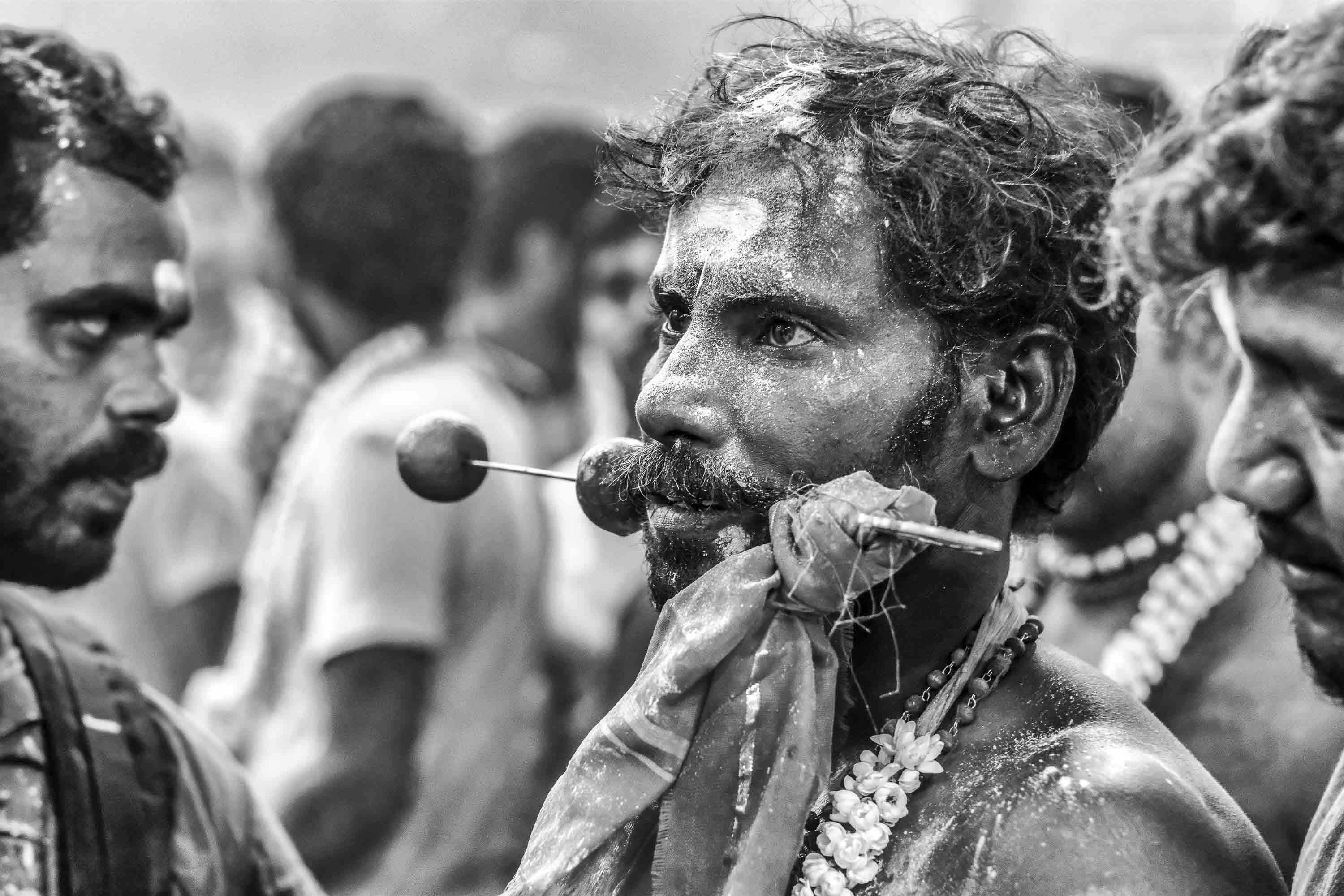 piercing tongue brochette black and white Little India Thaipusam Festival hindu Singapore photography jose jeuland documentary event