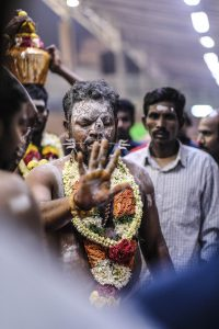 flowers on man Little India Thaipusam Festival hindu Singapore photography jose jeuland documentary event
