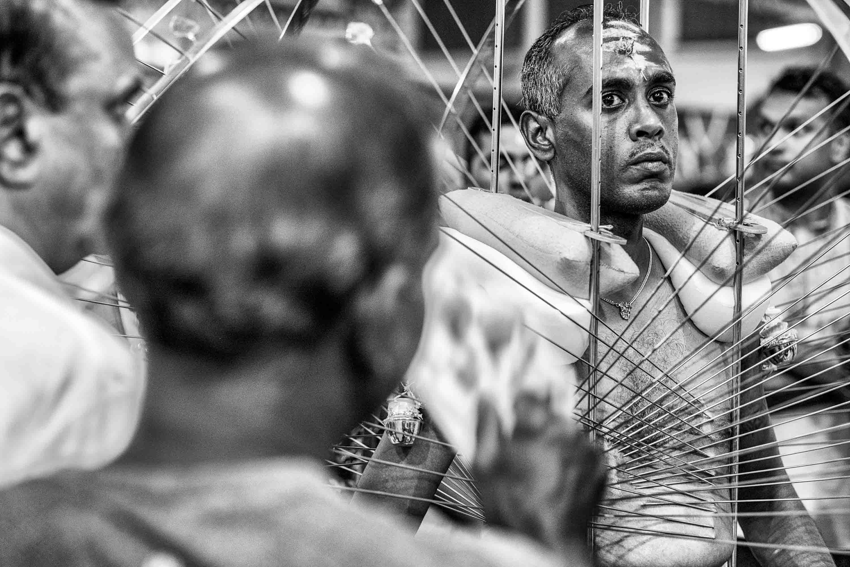 piercing man structure body Little India Thaipusam Festival hindu Singapore photography jose jeuland documentary event