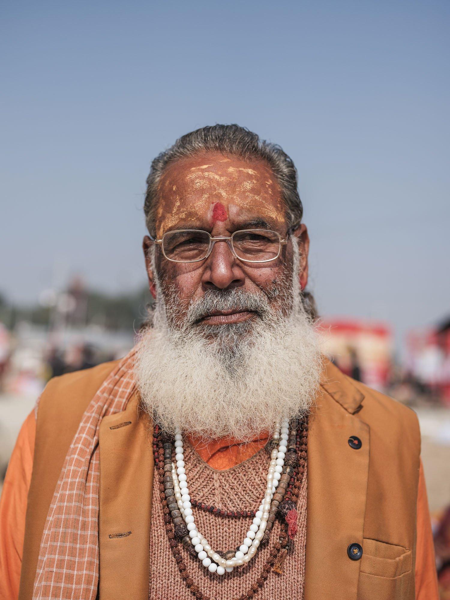india man Kumbh mela orange beard Commercial Editorial Portraiture Documentary Photographer fujifilm Director Singapore Jose Jeuland photography fashion street hindu