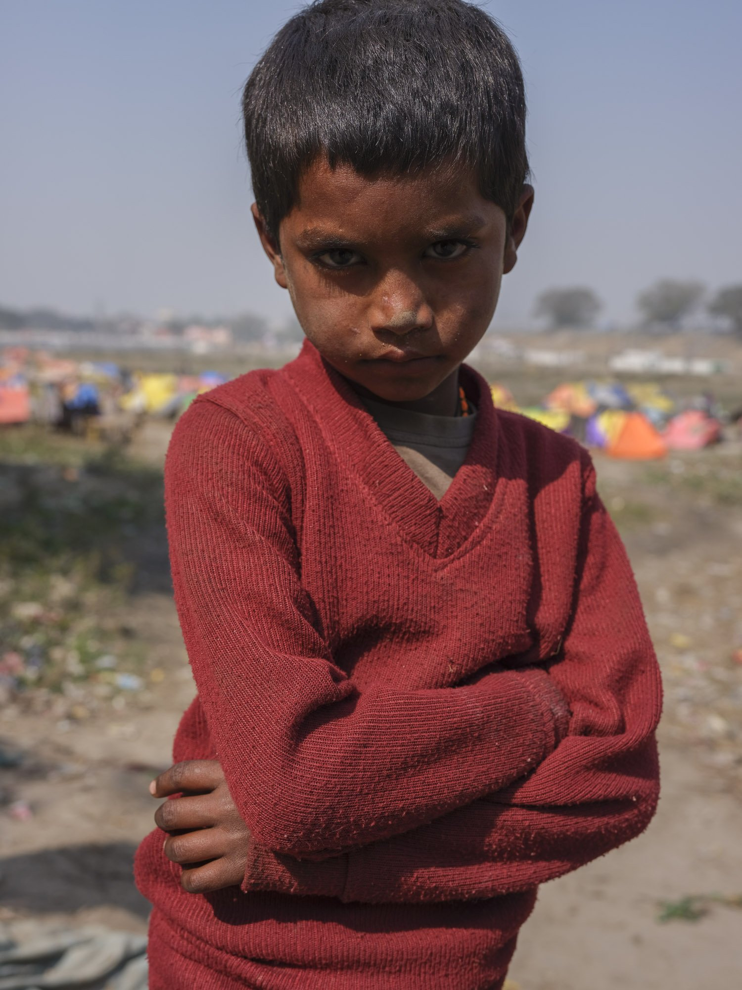 little boy pilgrims Kumbh mela 2019 India Allahabad Prayagraj Ardh hindu religious Festival event rivers photographer jose jeuland photography