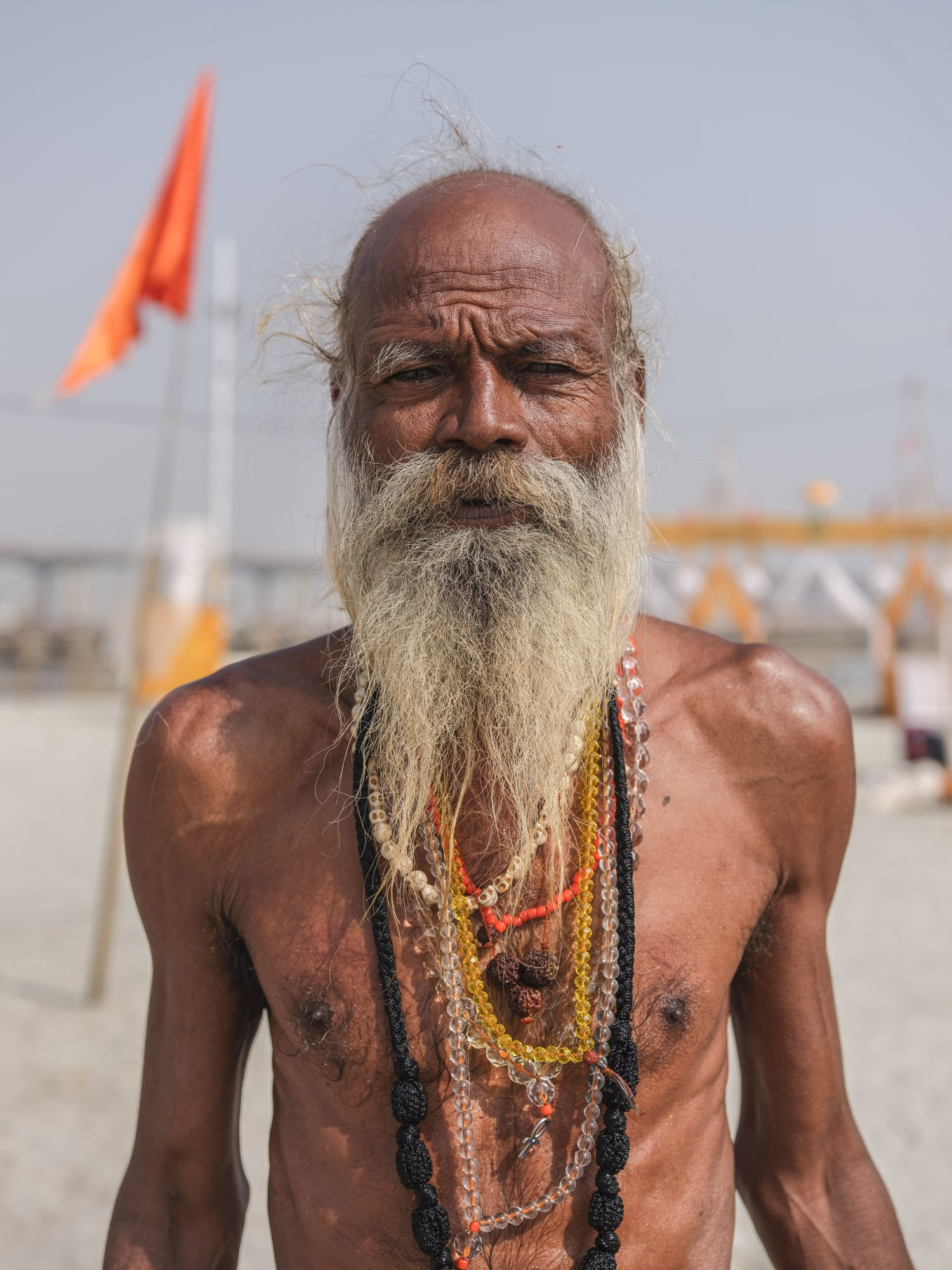 old man portrait pilgrims Kumbh mela 2019 India Allahabad Prayagraj Ardh hindu religious Festival event rivers photographer jose jeuland photography
