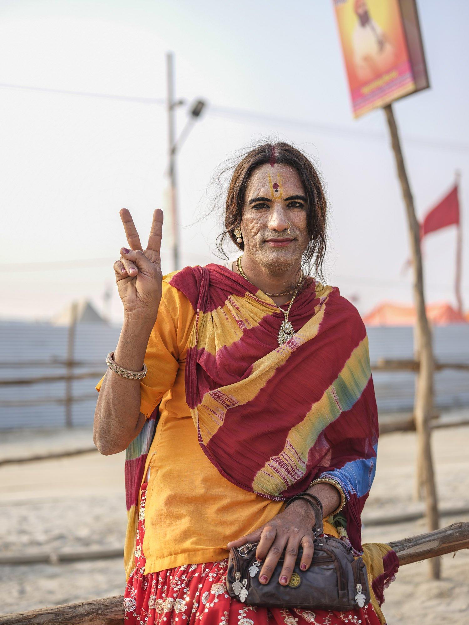 transgender portrait camp pilgrims Kumbh mela 2019 India Allahabad Prayagraj Ardh hindu religious Festival event rivers photographer jose jeuland photography