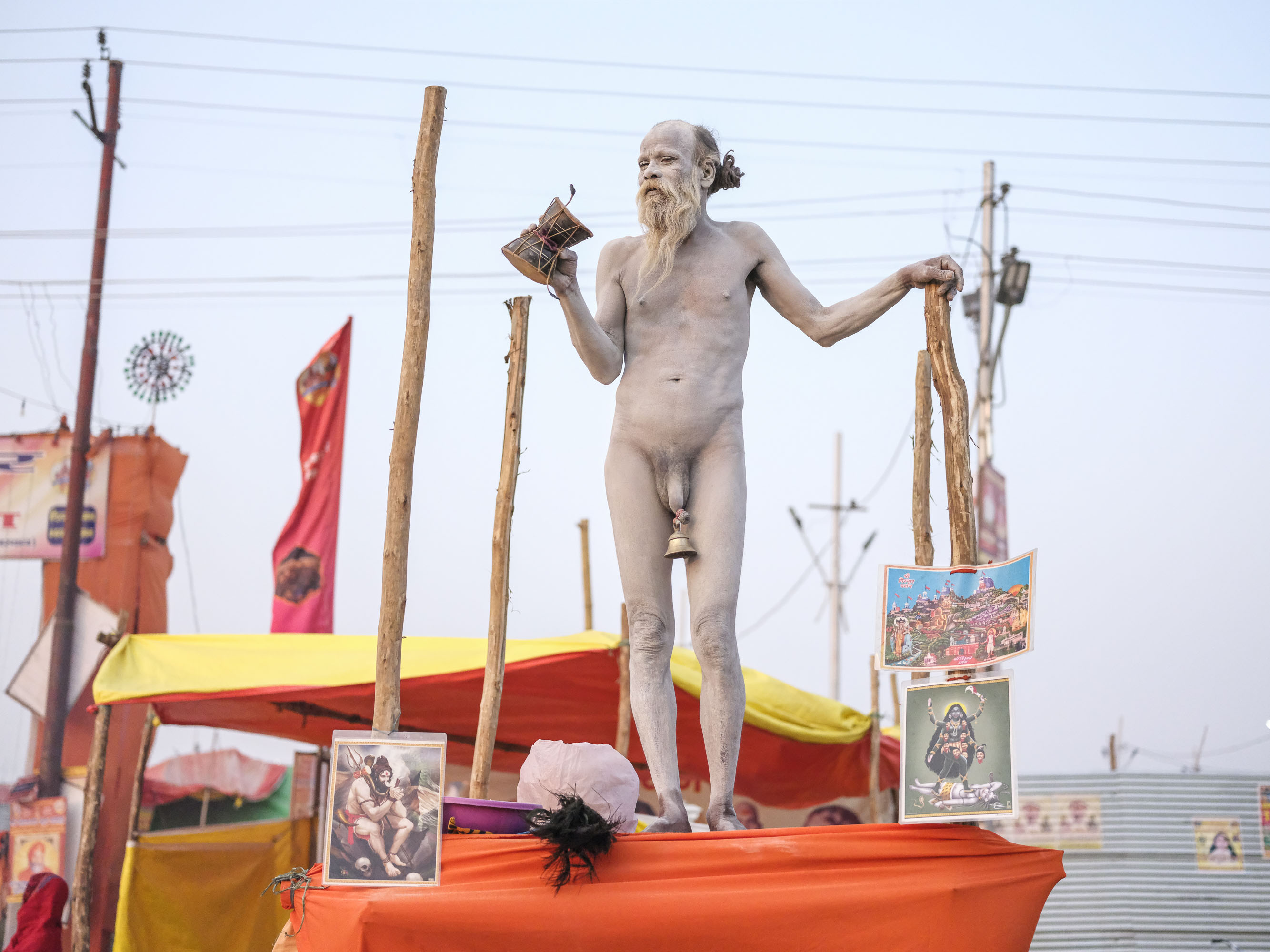 baba naked bell hang on his sex white skin pilgrims Kumbh mela 2019 India Allahabad Prayagraj Ardh hindu religious Festival event rivers photographer jose jeuland photography