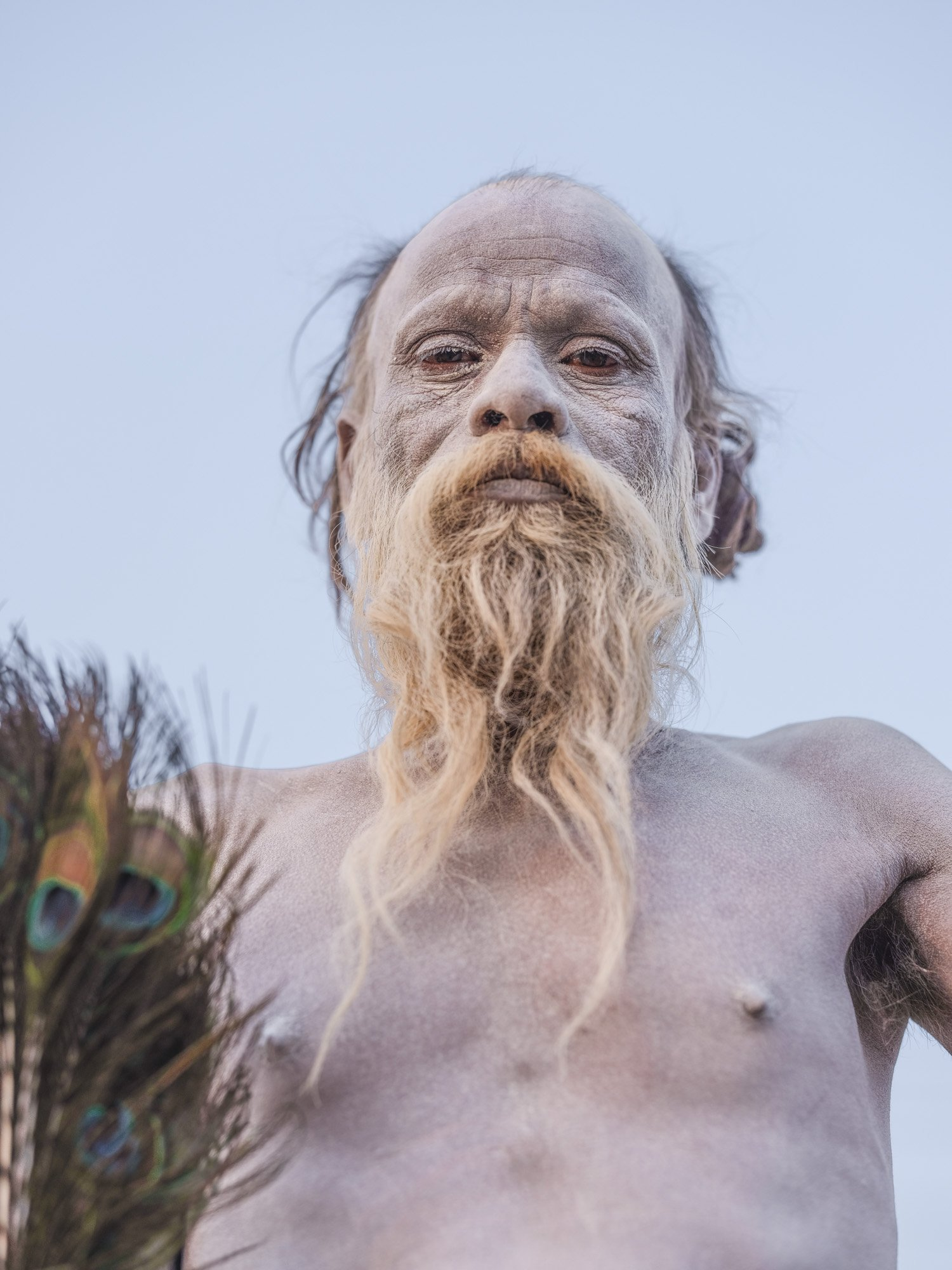 baba naked and white skin pilgrims Kumbh mela 2019 India Allahabad Prayagraj Ardh hindu religious Festival event rivers photographer jose jeuland photography