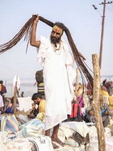 rasta man after bath early morning pilgrims Kumbh mela 2019 India Allahabad Prayagraj Ardh hindu religious Festival event rivers photographer jose jeuland photography