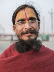 portrait man specs pilgrims Kumbh mela 2019 India Allahabad Prayagraj Ardh hindu religious Festival event rivers photographer jose jeuland photography