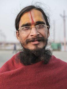 portrait man specs pilgrims Kumbh mela 2019 India Allahabad Prayagraj Ardh hindu religious Festival event rivers photographer jose jeuland photography
