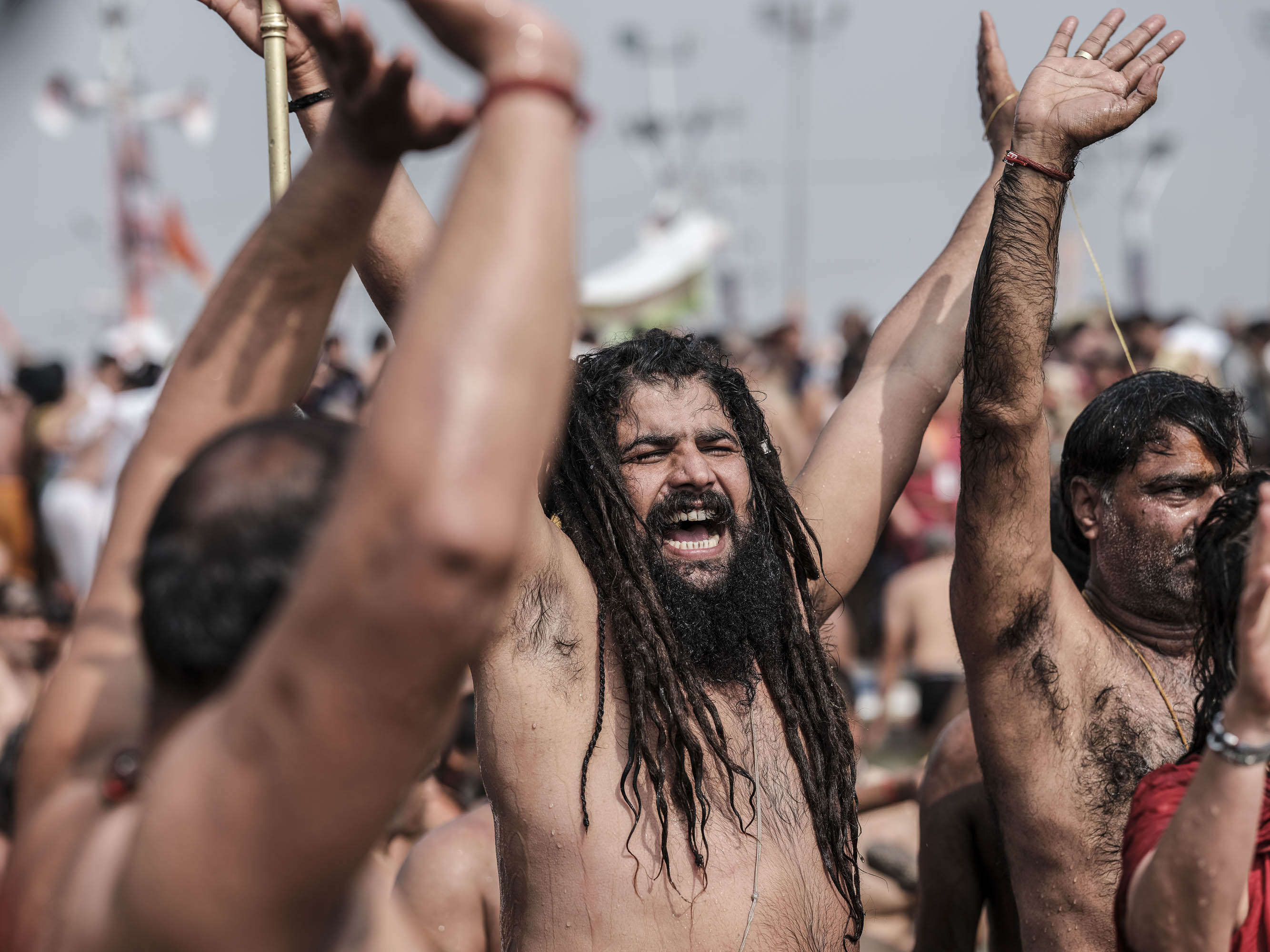 happy man baba 4 february pilgrims Kumbh mela 2019 India Allahabad Prayagraj Ardh hindu religious Festival event rivers photographer jose jeuland photography