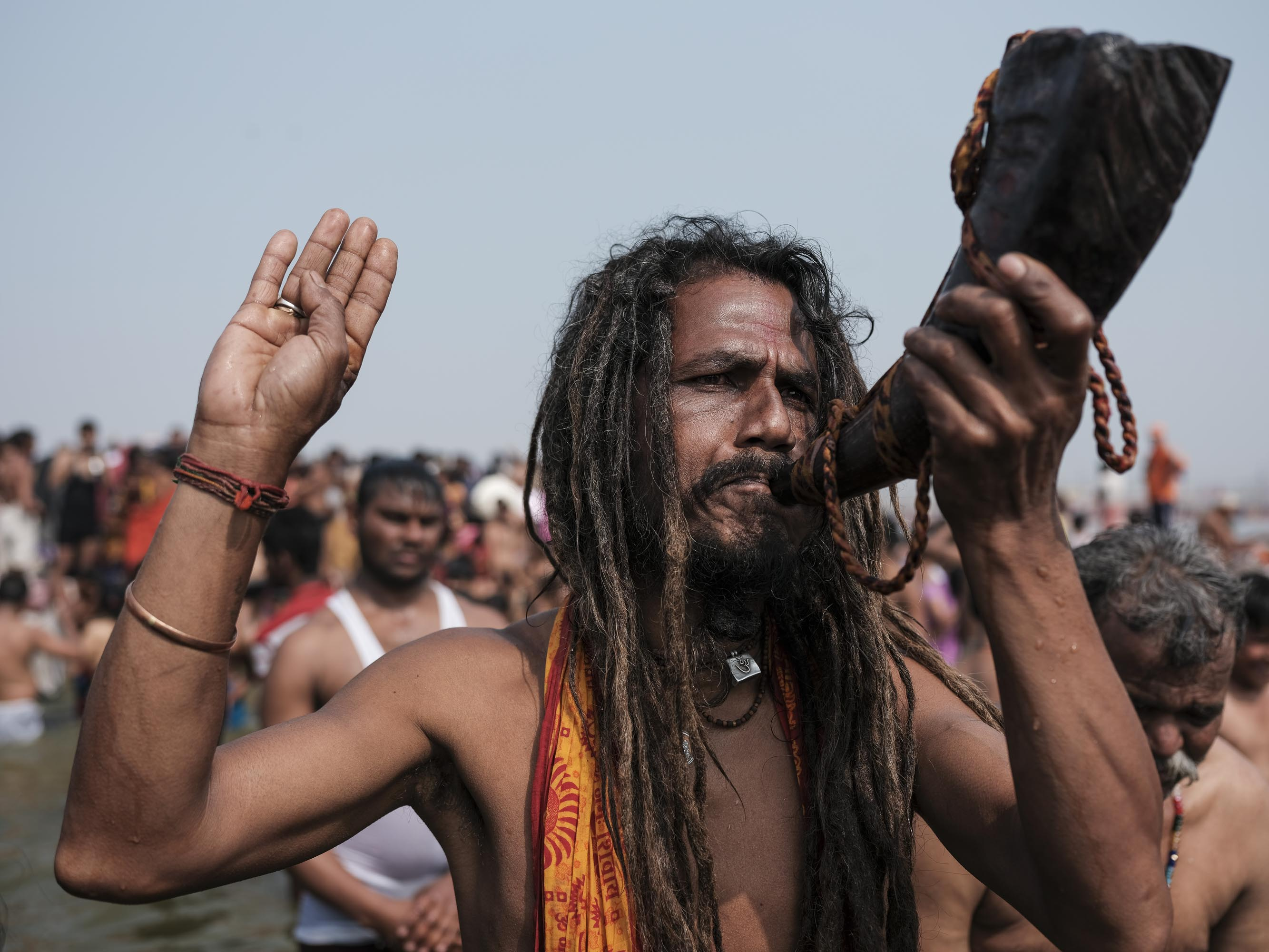 in the water baba hair pilgrims Kumbh mela 2019 India Allahabad Prayagraj Ardh hindu religious Festival event rivers photographer jose jeuland photography