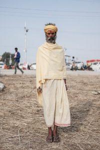 yellow man pilgrims Kumbh mela 2019 India Allahabad Prayagraj Ardh hindu religious Festival event rivers photographer jose jeuland photography