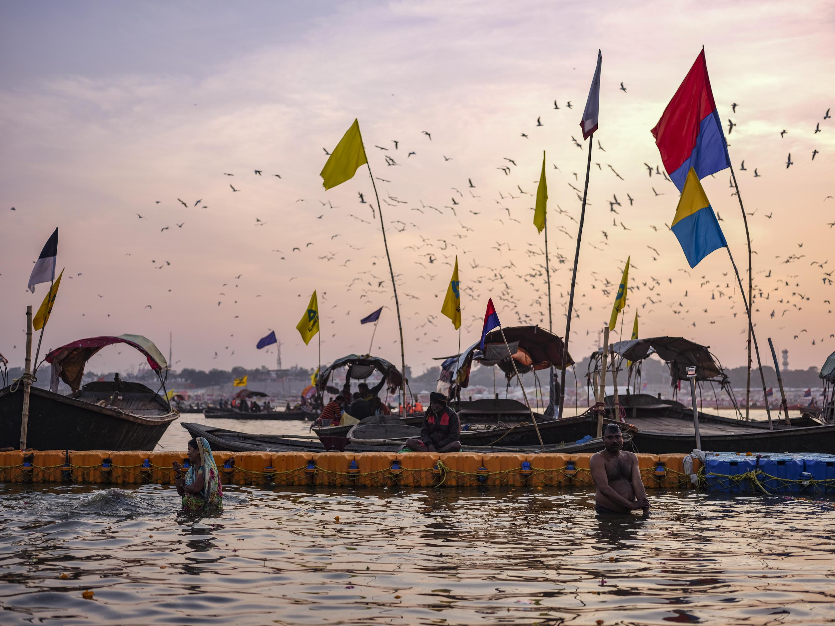 sunset water birds pilgrims Kumbh mela 2019 India Allahabad Prayagraj Ardh hindu religious Festival event rivers photographer jose jeuland photography