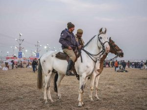 policeman army military on horses pilgrims Kumbh mela 2019 India Allahabad Prayagraj Ardh hindu religious Festival event rivers photographer jose jeuland photography