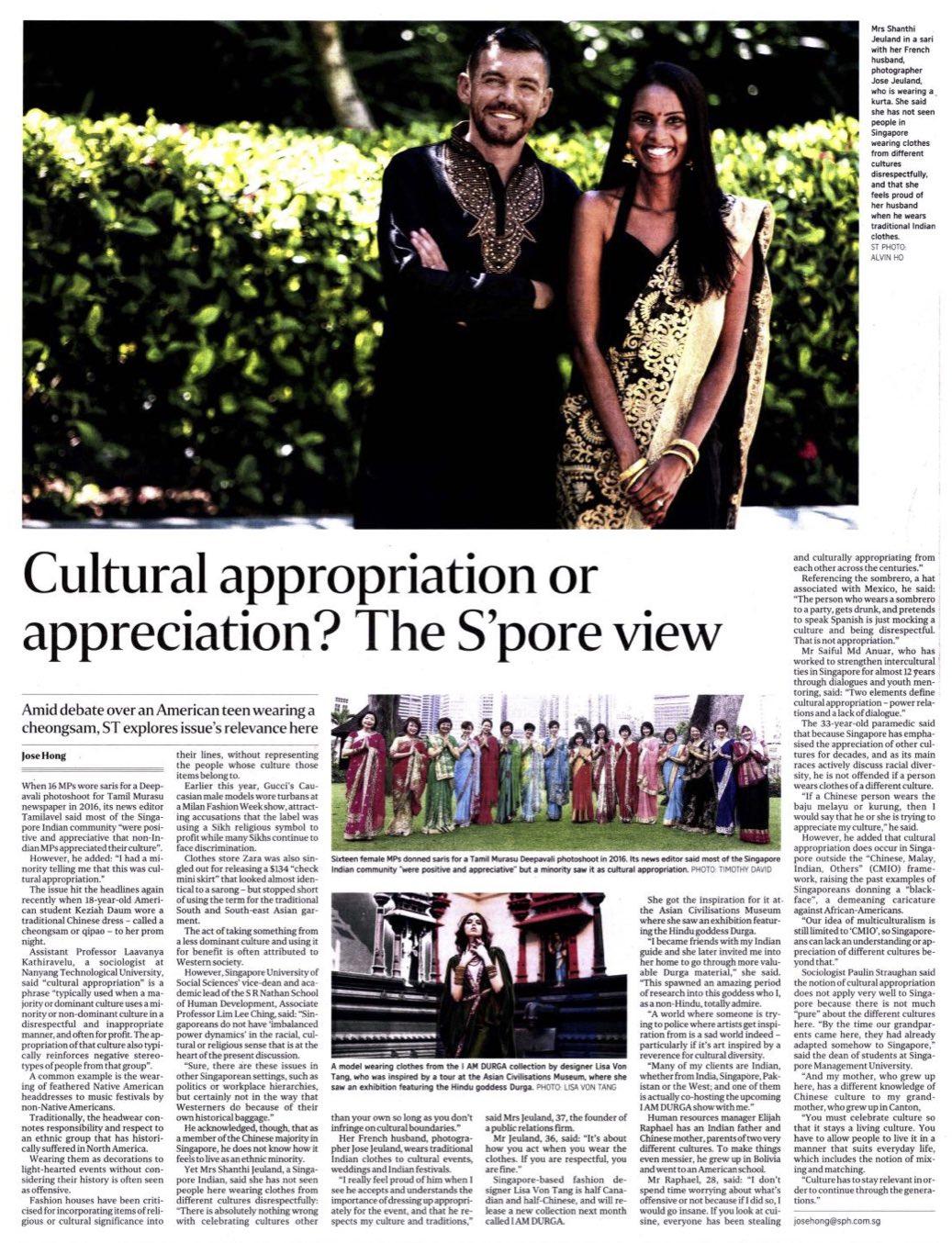 The Sunday Times Singapore - Jose and Shanthi Jeuland singapore straight time
