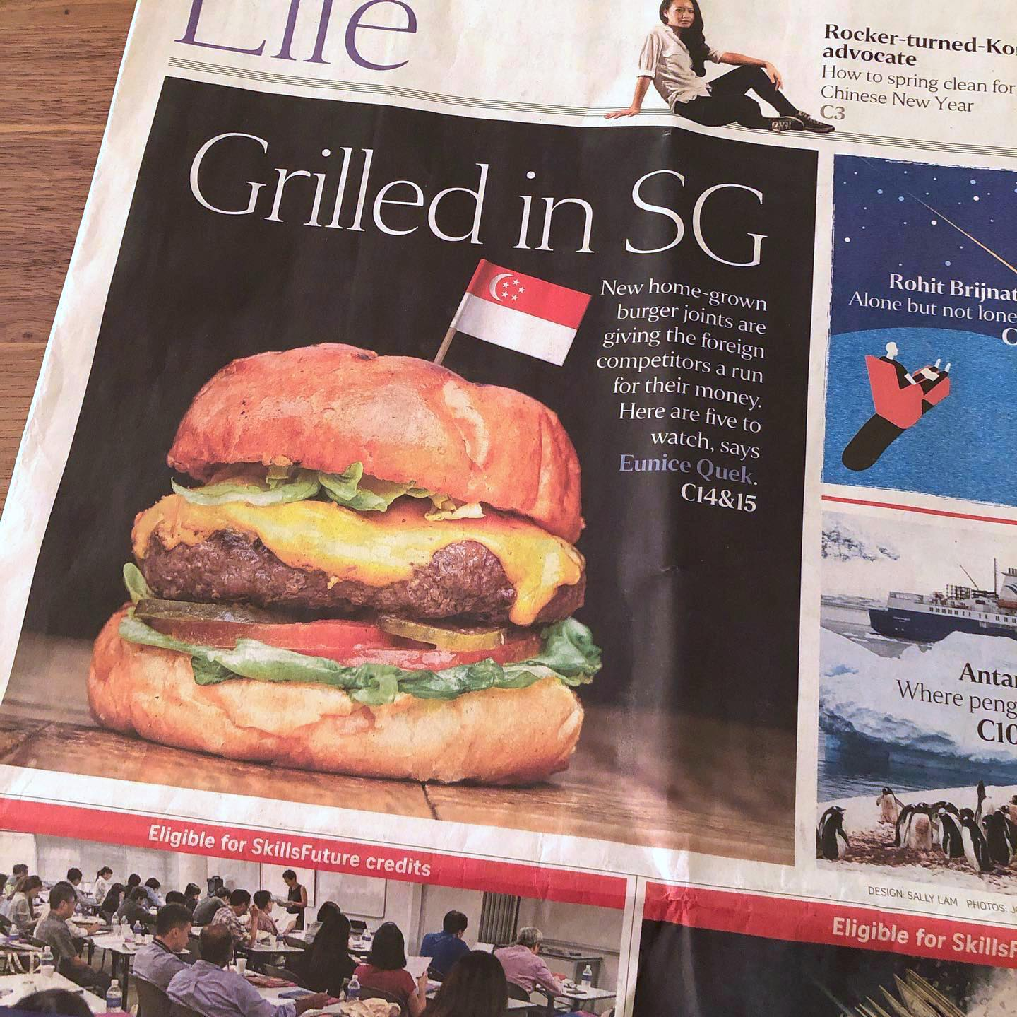 Food Photography by Jose Jeuland Burger Frites in Straits Times Issue