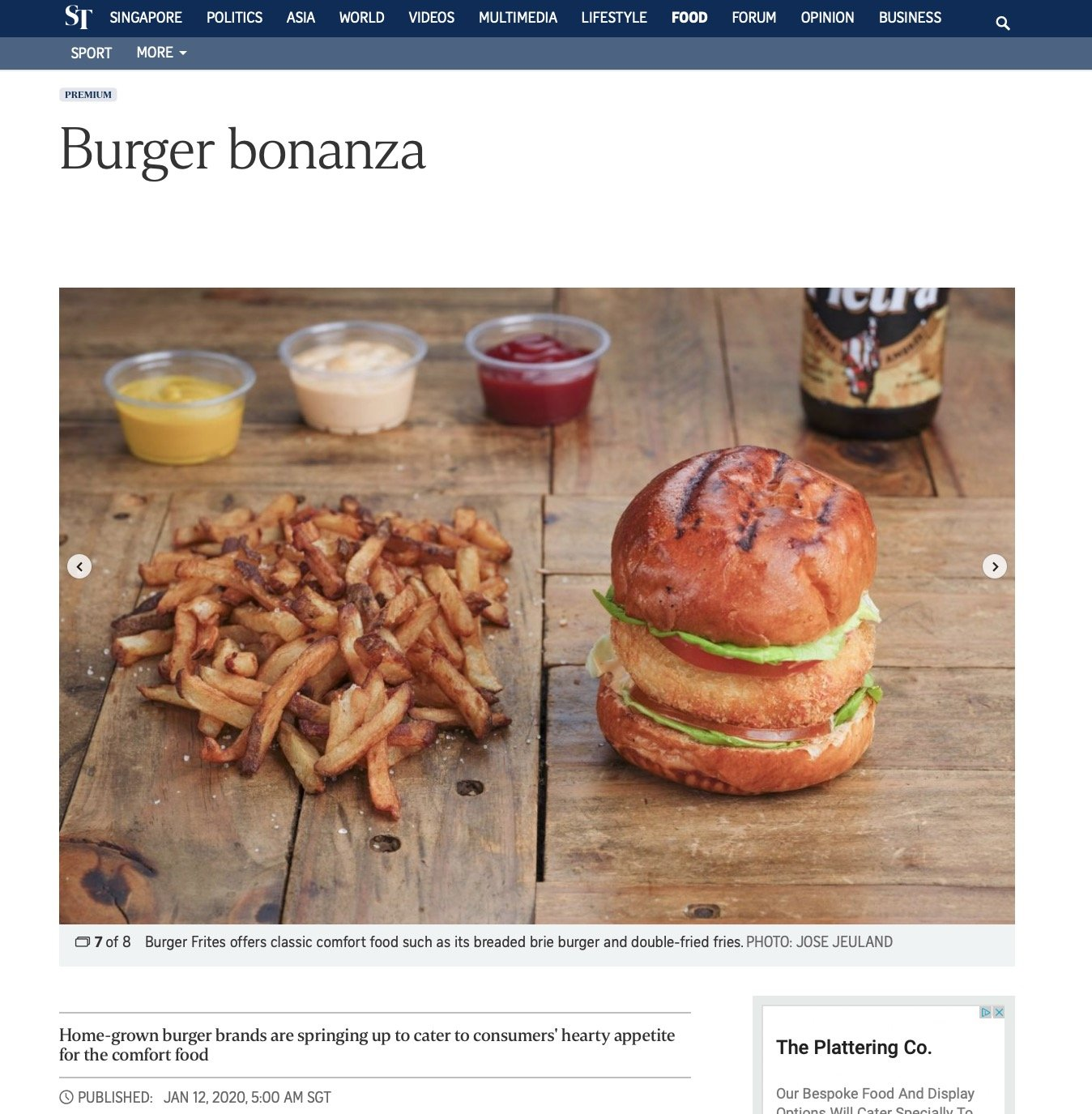 The Straits Times Burger Frites Food Photography Jose Jeuland Singapore