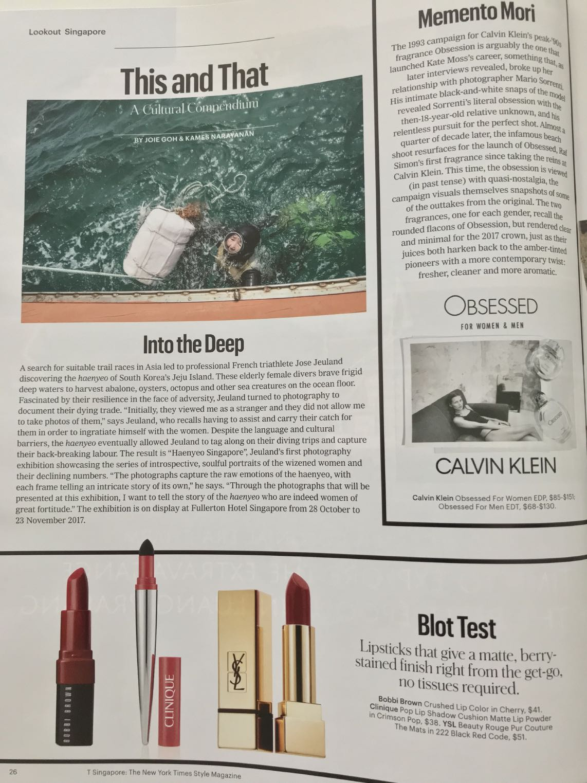 The New York Times Style Magazine (print) Haenyeo Jeju Island Jose Jeuland 1